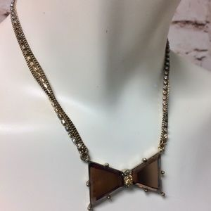 Betsy Johnson Multi Chain Bow Rhinestones Necklace